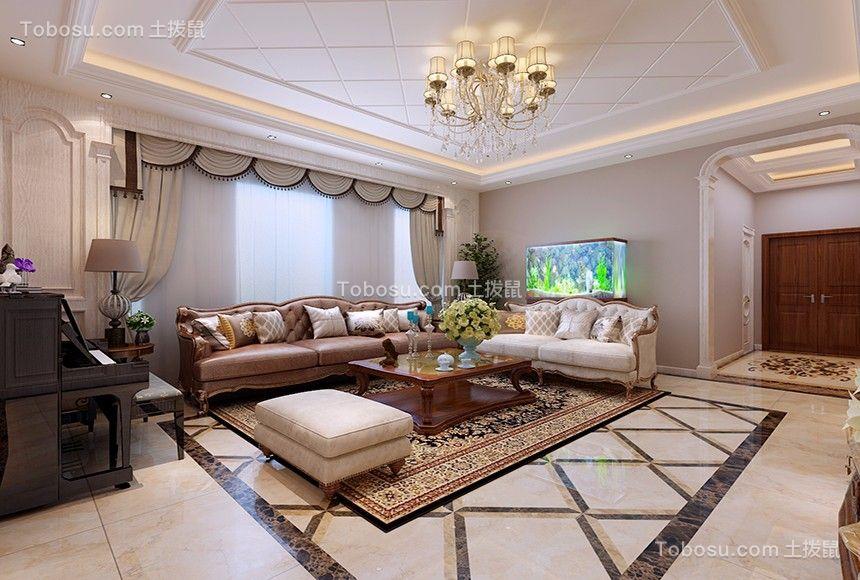 客厅白色地砖欧式风格装饰效果图