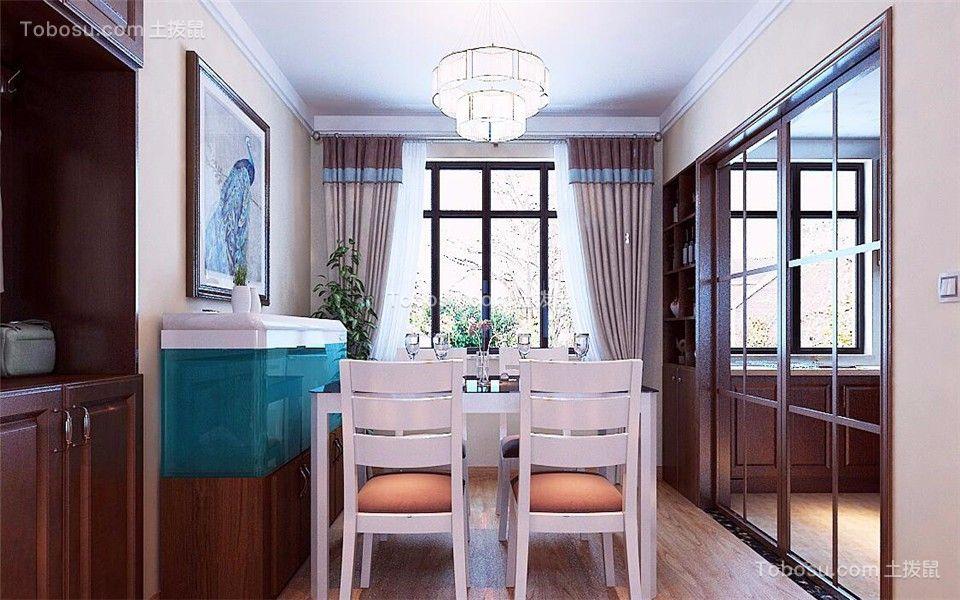 餐厅咖啡色推拉门混搭风格装饰设计图片