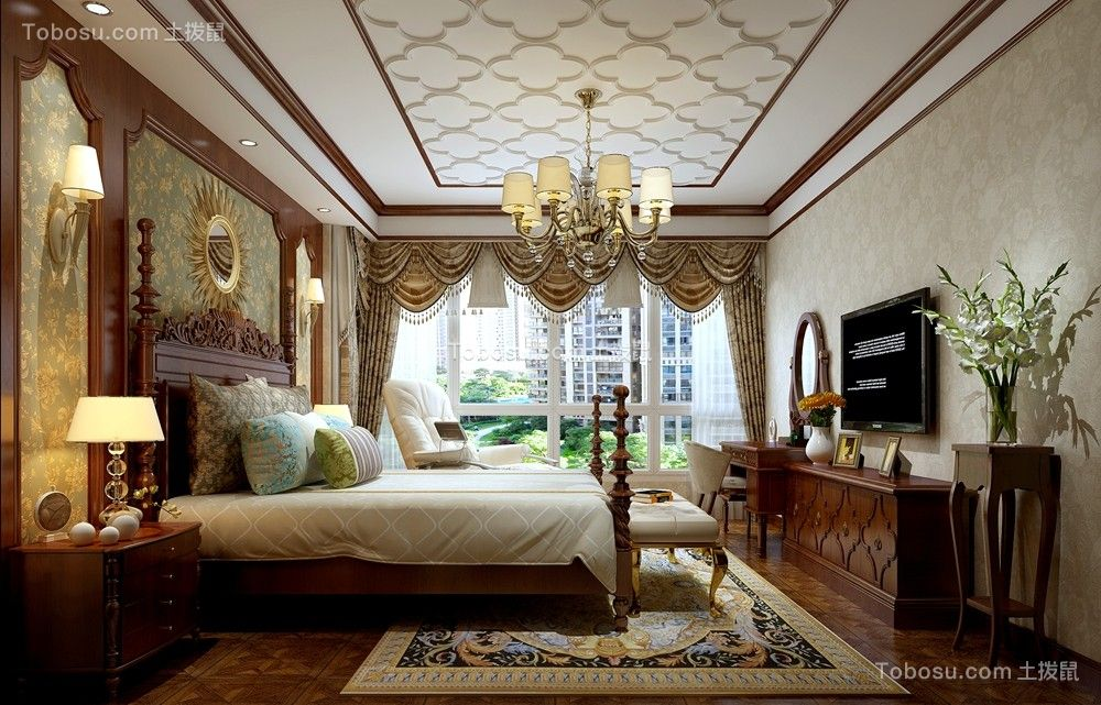 美式风格180平米大户型新房装修效果图