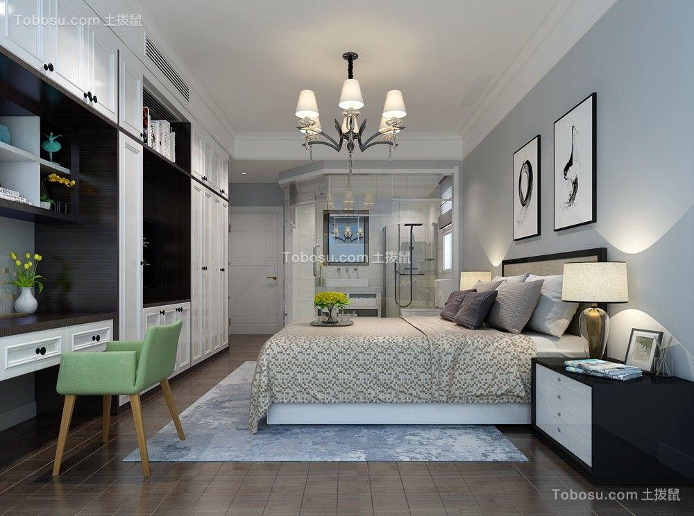 卧室灰色背景墙北欧风格装潢图片