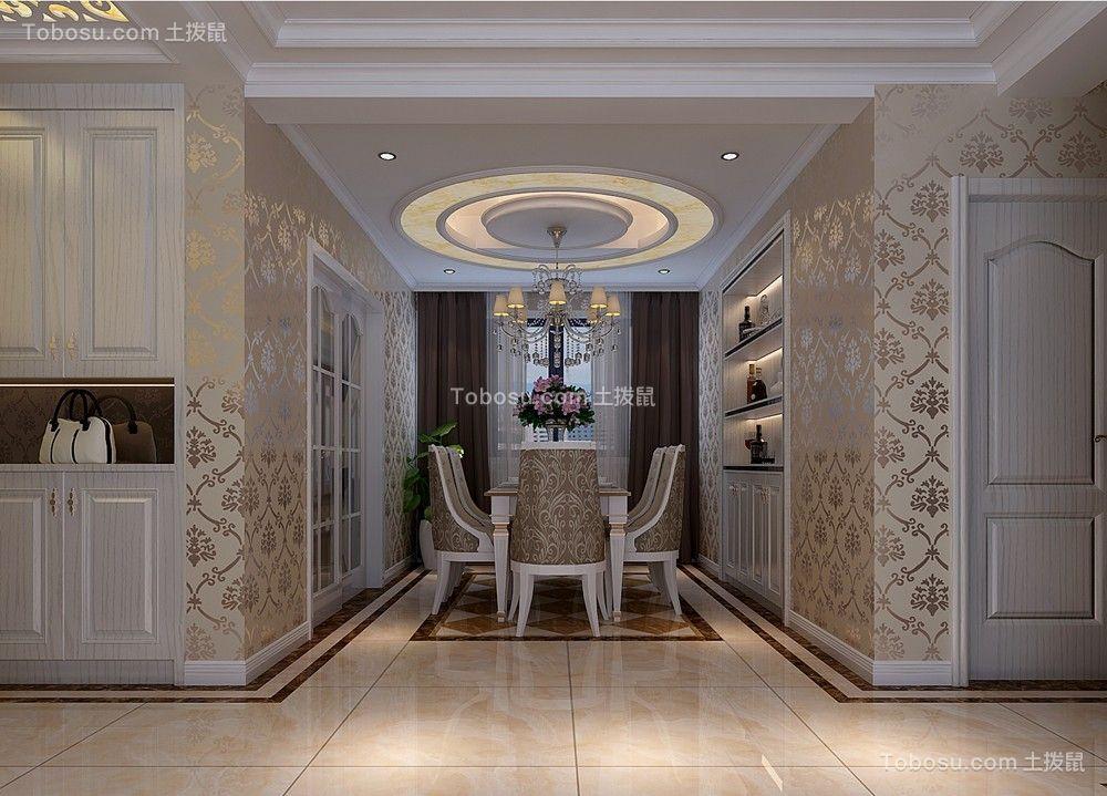 餐厅白色餐桌简欧风格装饰效果图