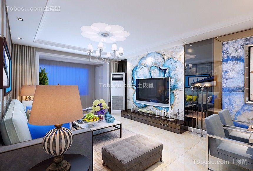 客厅蓝色电视柜地中海风格装修效果图