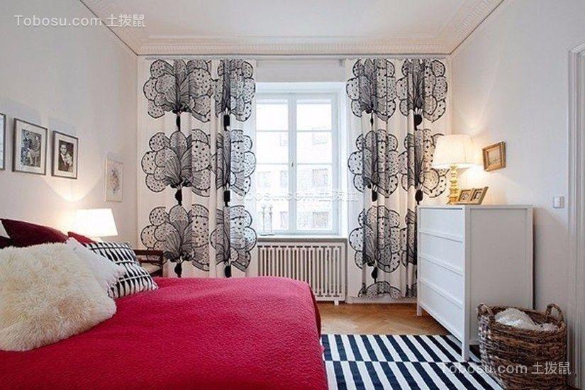 卧室红色床简单风格装修效果图
