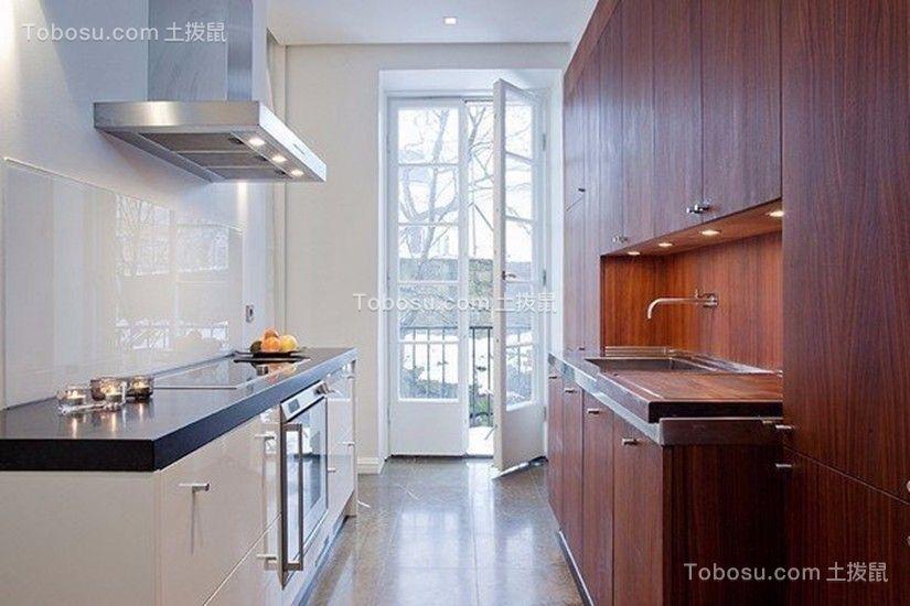 厨房白色厨房岛台简单风格装潢效果图