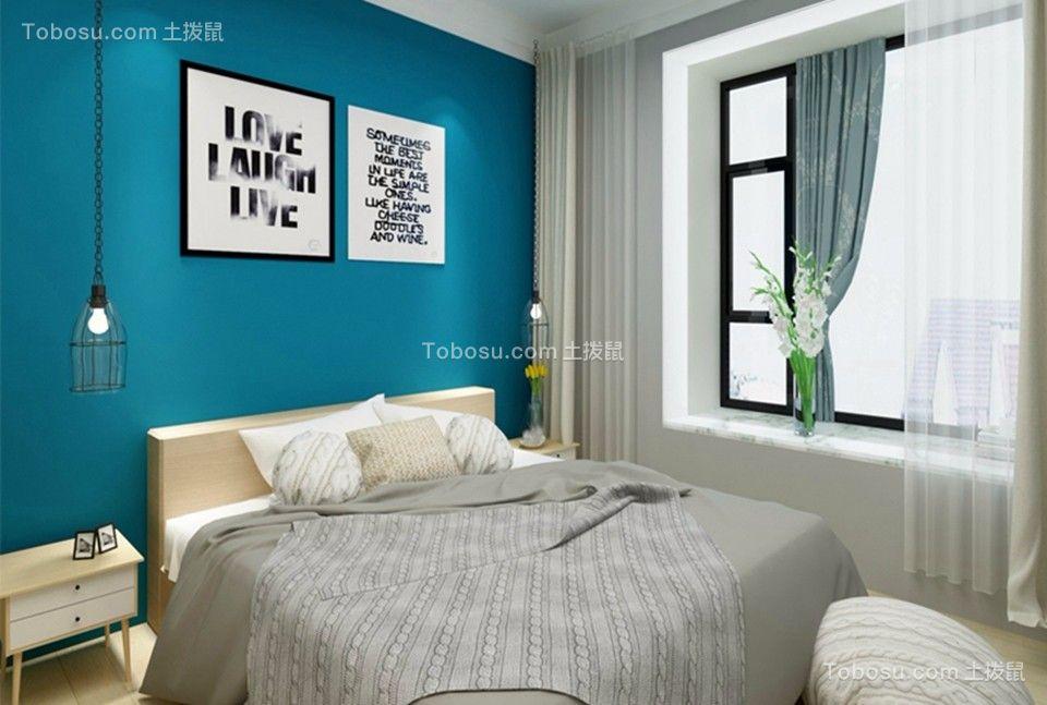 卧室灰色背景墙北欧风格装饰设计图片