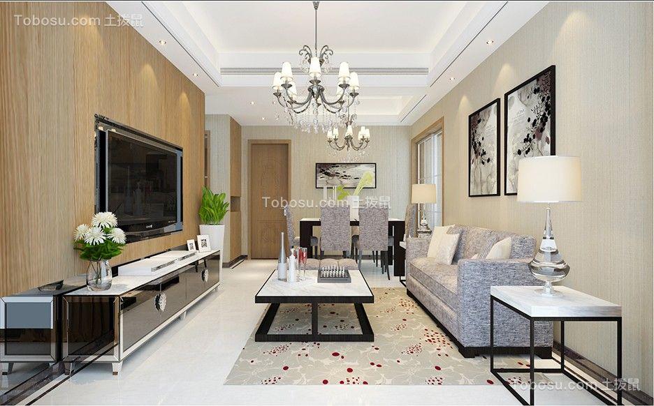 客厅白色吊顶简中风格装修设计图片