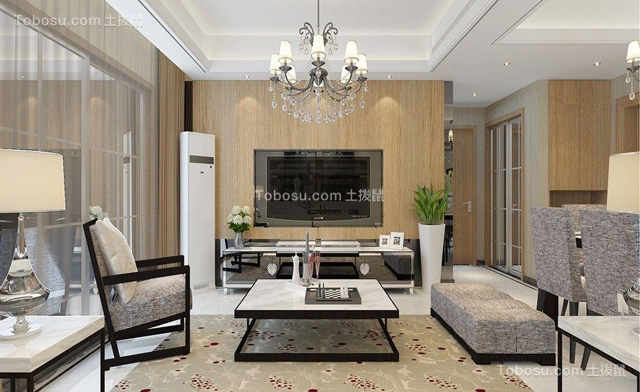 客厅黄色电视柜简中风格装饰设计图片