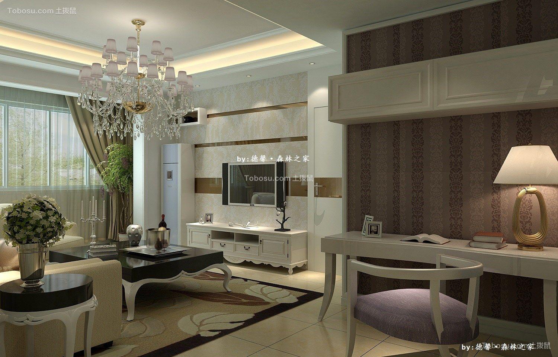 客厅白色灯具简欧风格装修设计图片