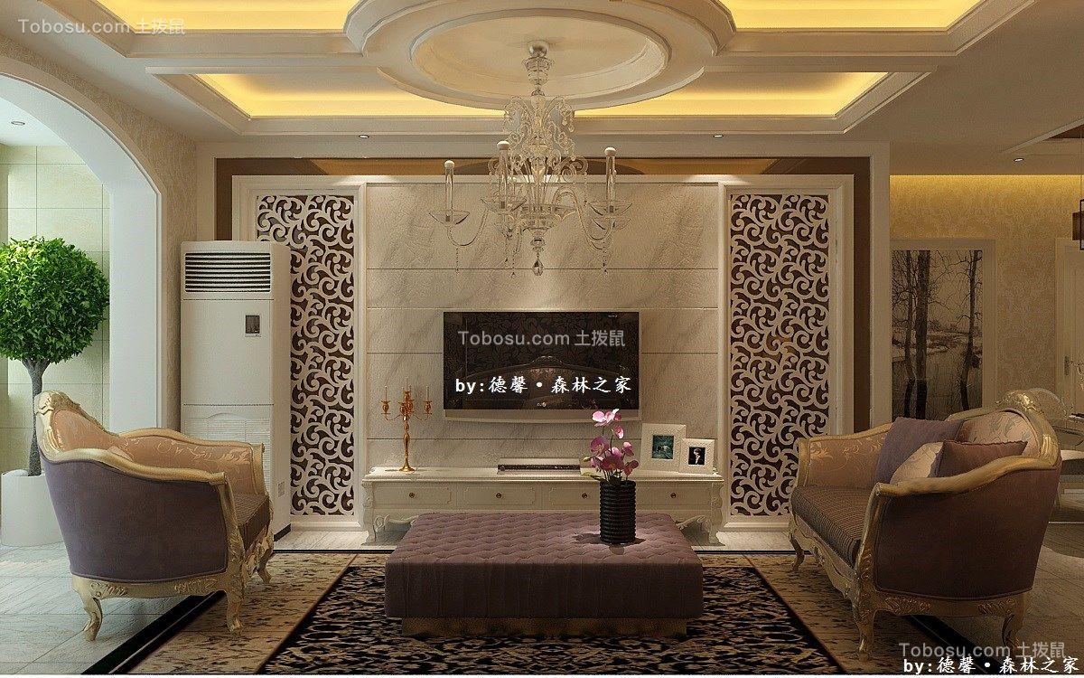 客厅黄色灯具简欧风格装饰设计图片