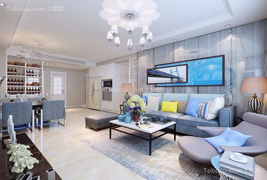 客厅蓝色沙发现代风格效果图