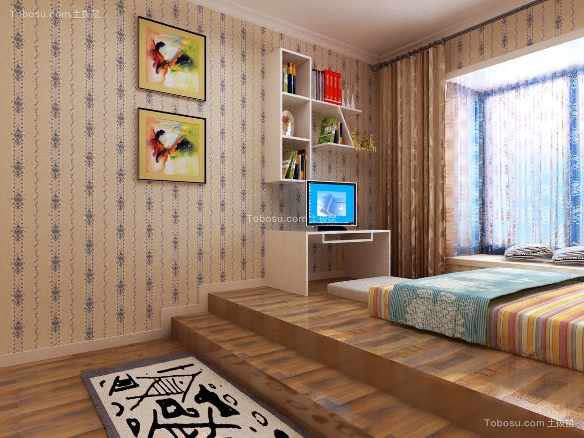 5.5万预算110平米两室两厅装修效果图