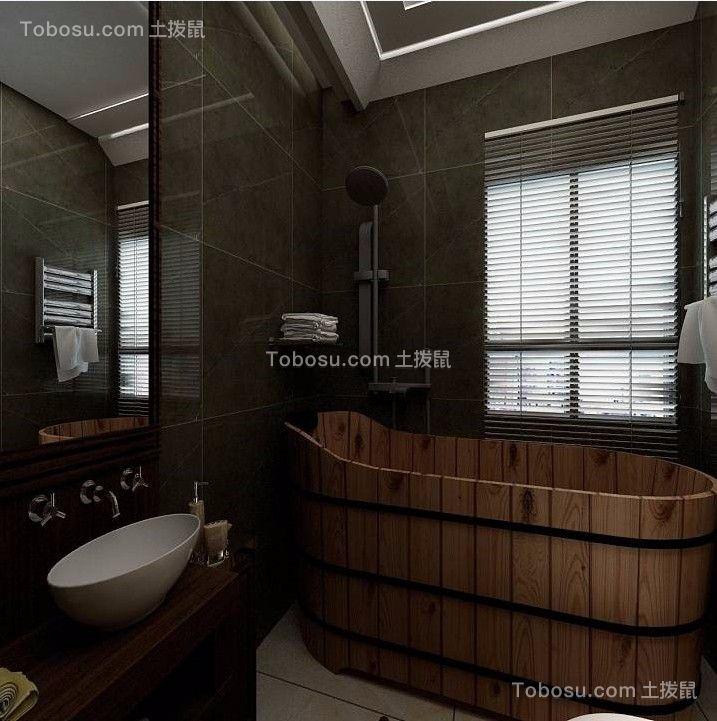 卫生间咖啡色洗漱台新中式风格装修图片