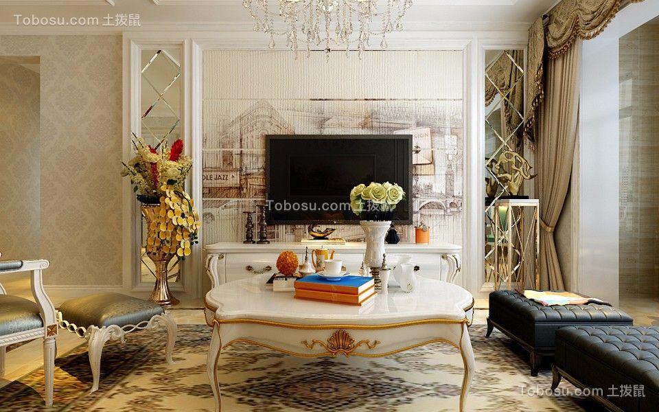 富力华庭118平米三居室简欧风格装修效果图