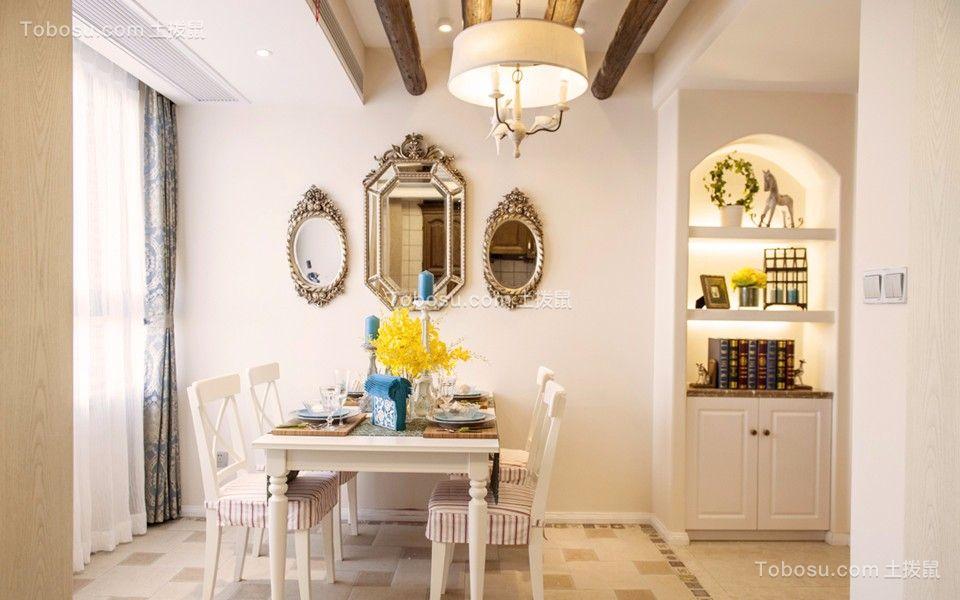 餐厅白色餐桌田园风格装潢效果图