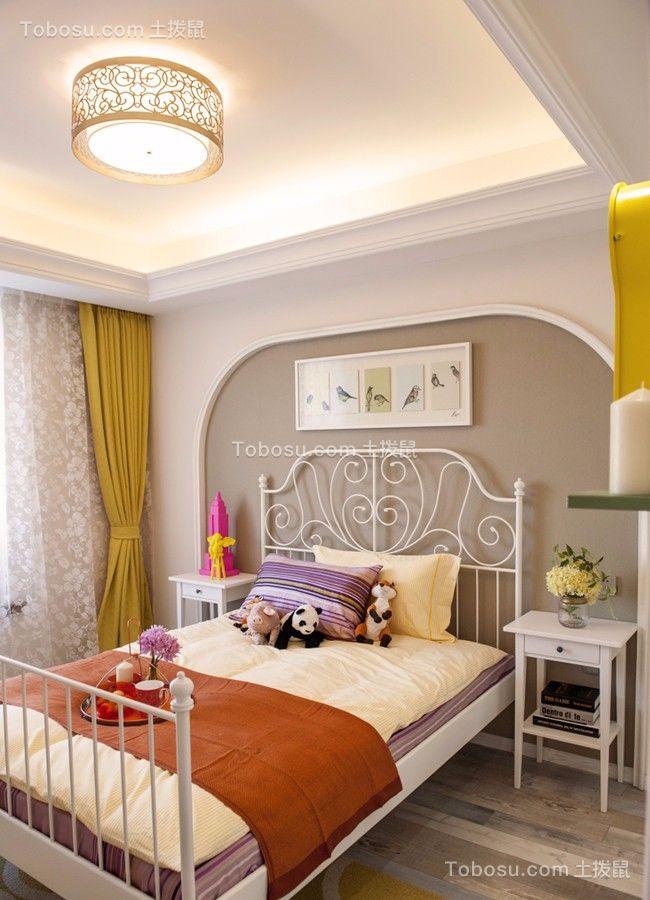 卧室白色窗帘田园风格装饰设计图片