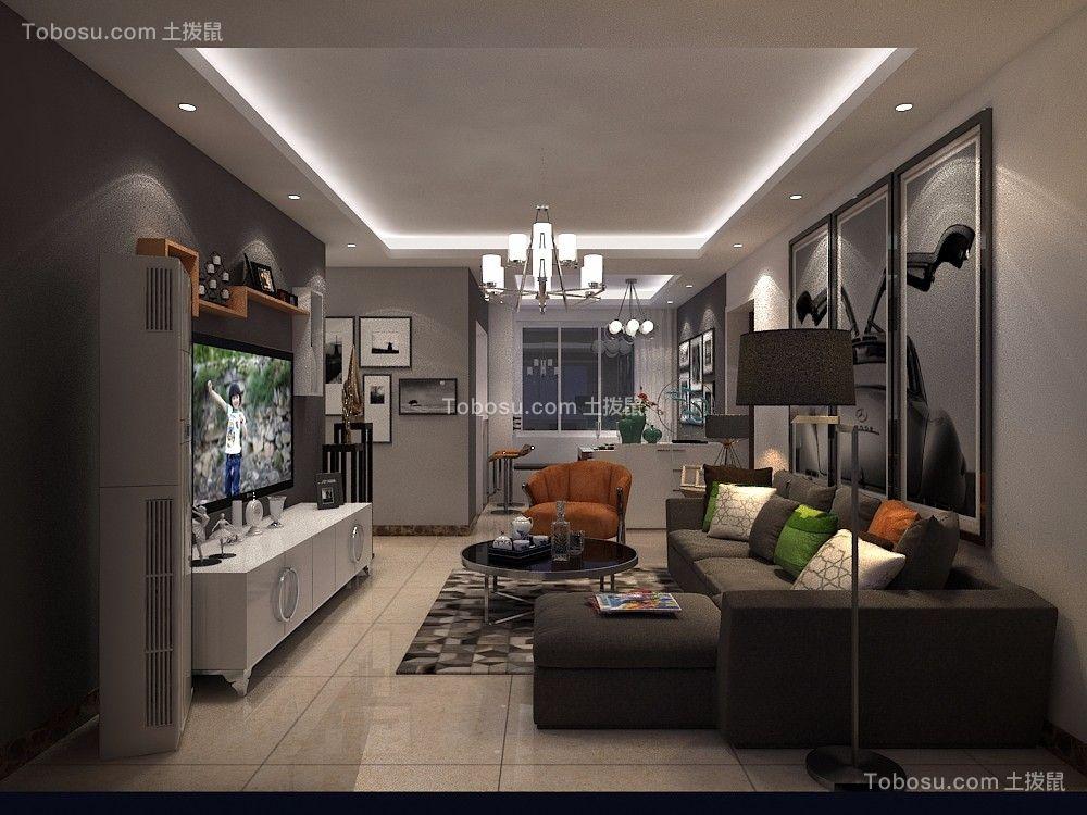 恒生望山110平现代简约黑白灰三居室装修效果图