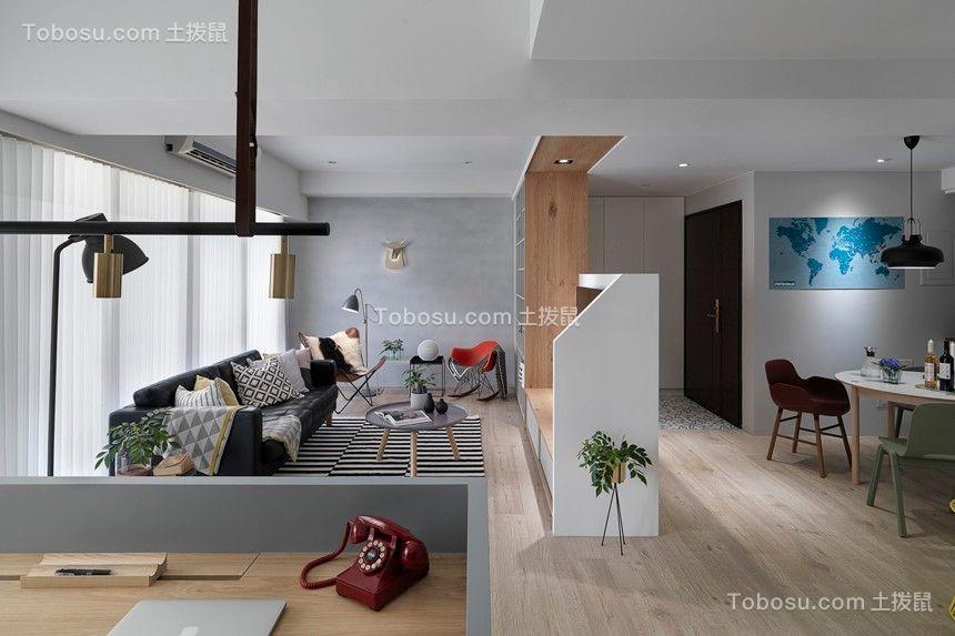 客厅黑色沙发北欧风格装修设计图片
