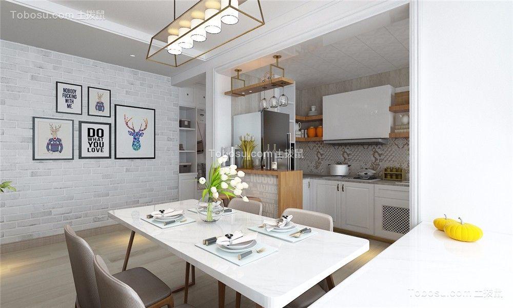餐厅白色餐桌北欧风格装饰设计图片