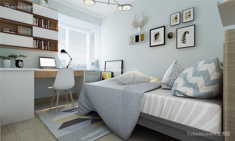 卧室蓝色背景墙北欧风格装潢设计图片