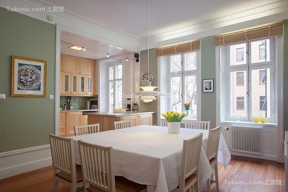 餐厅白色餐桌北欧风格装修效果图