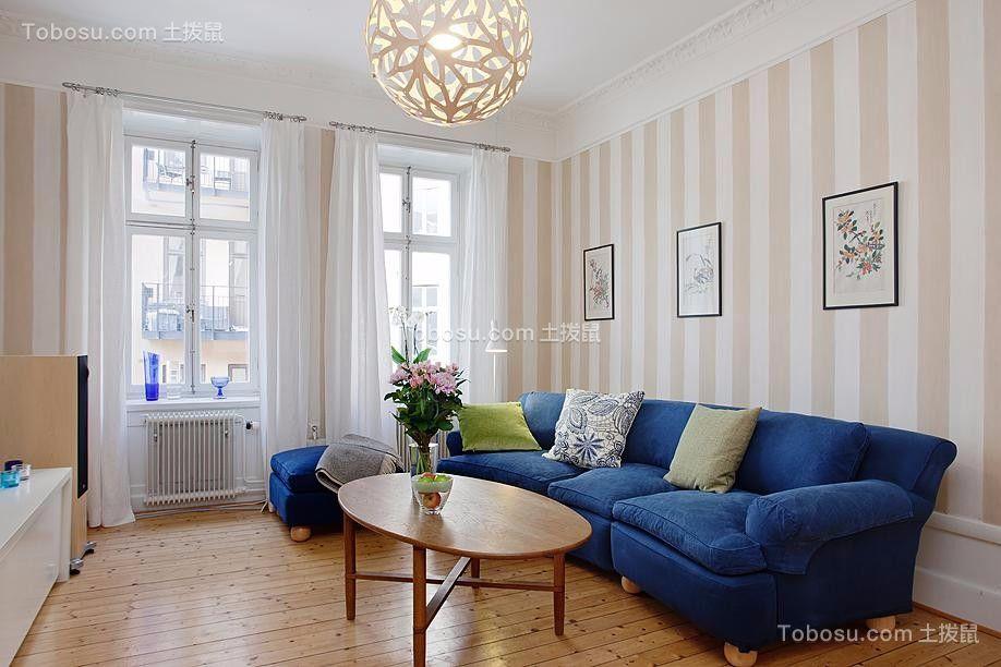 客厅蓝色沙发北欧风格装潢效果图