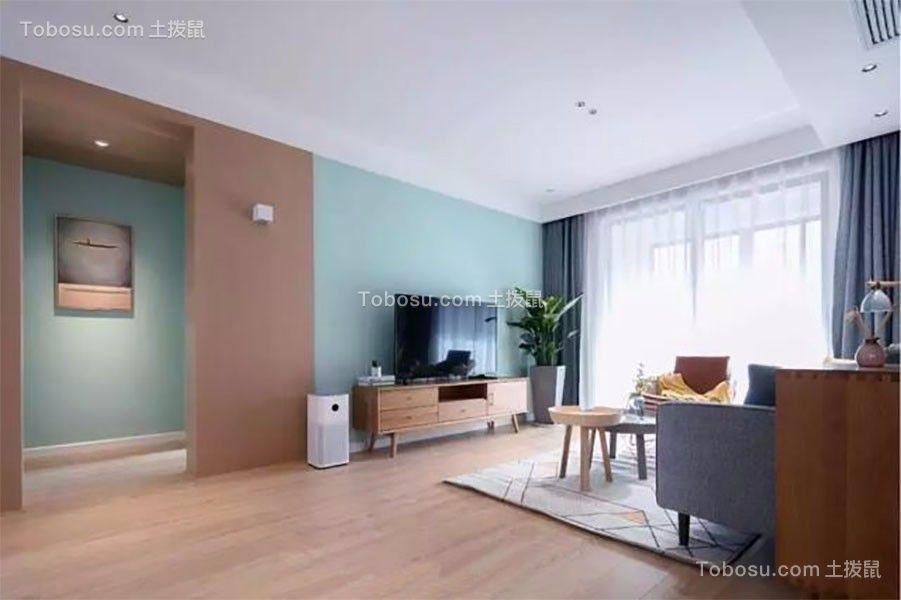 客厅绿色背景墙北欧风格装潢设计图片