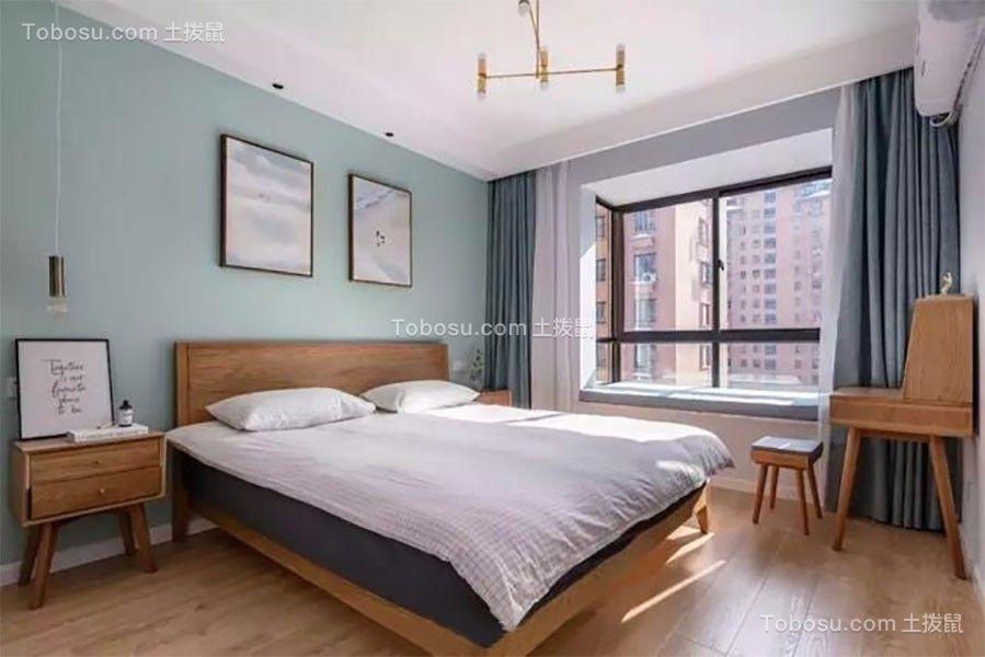 卧室绿色背景墙北欧风格装饰效果图