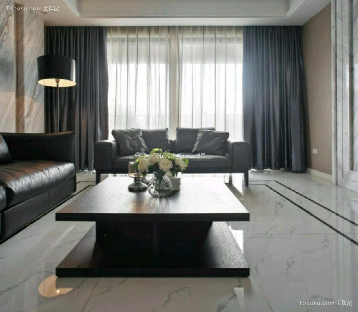 客厅黑色沙发现代简约风格装修图片