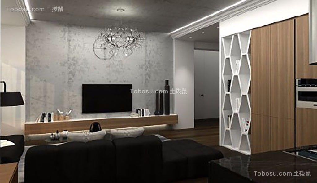 客厅灰色背景墙现代简约风格装潢图片