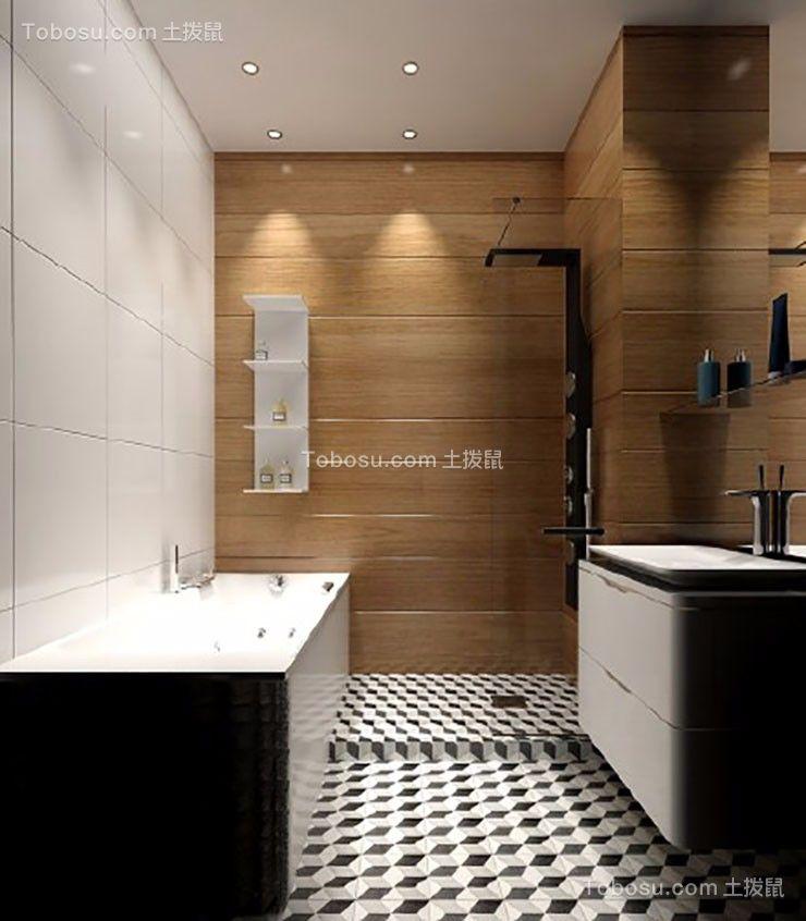 卫生间白色推拉门现代简约风格效果图