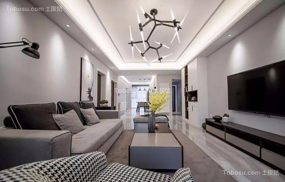 现代简约风格142平米三室两厅新房装修效果图