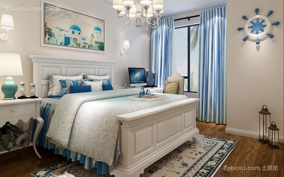 卧室蓝色窗帘地中海风格装饰图片