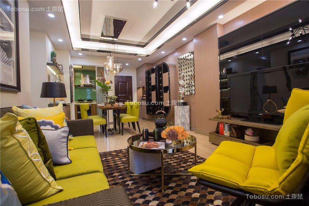 华润国际89平米田园风格三室两厅装修效果图