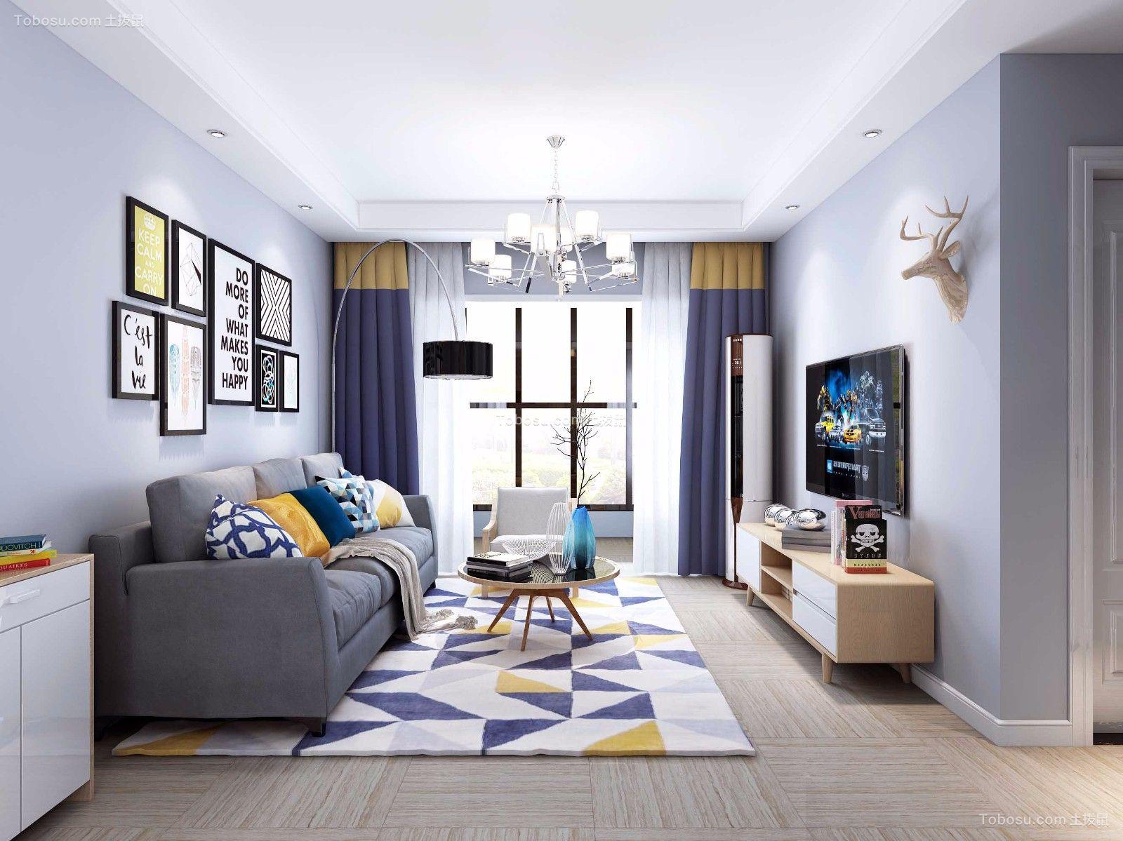 北欧风格89平米两室两厅新房装修效果图