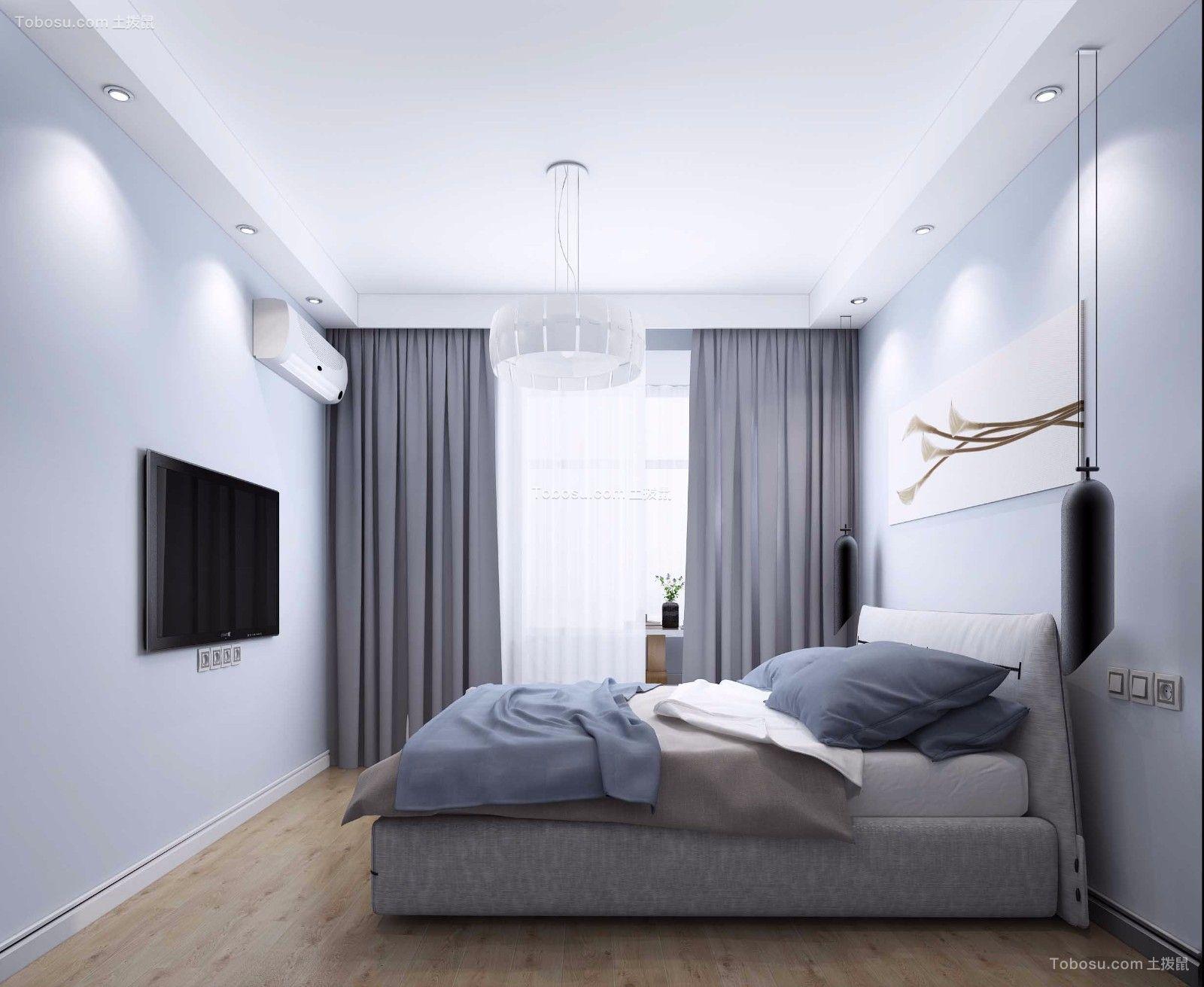 卧室灰色窗帘北欧风格装修设计图片