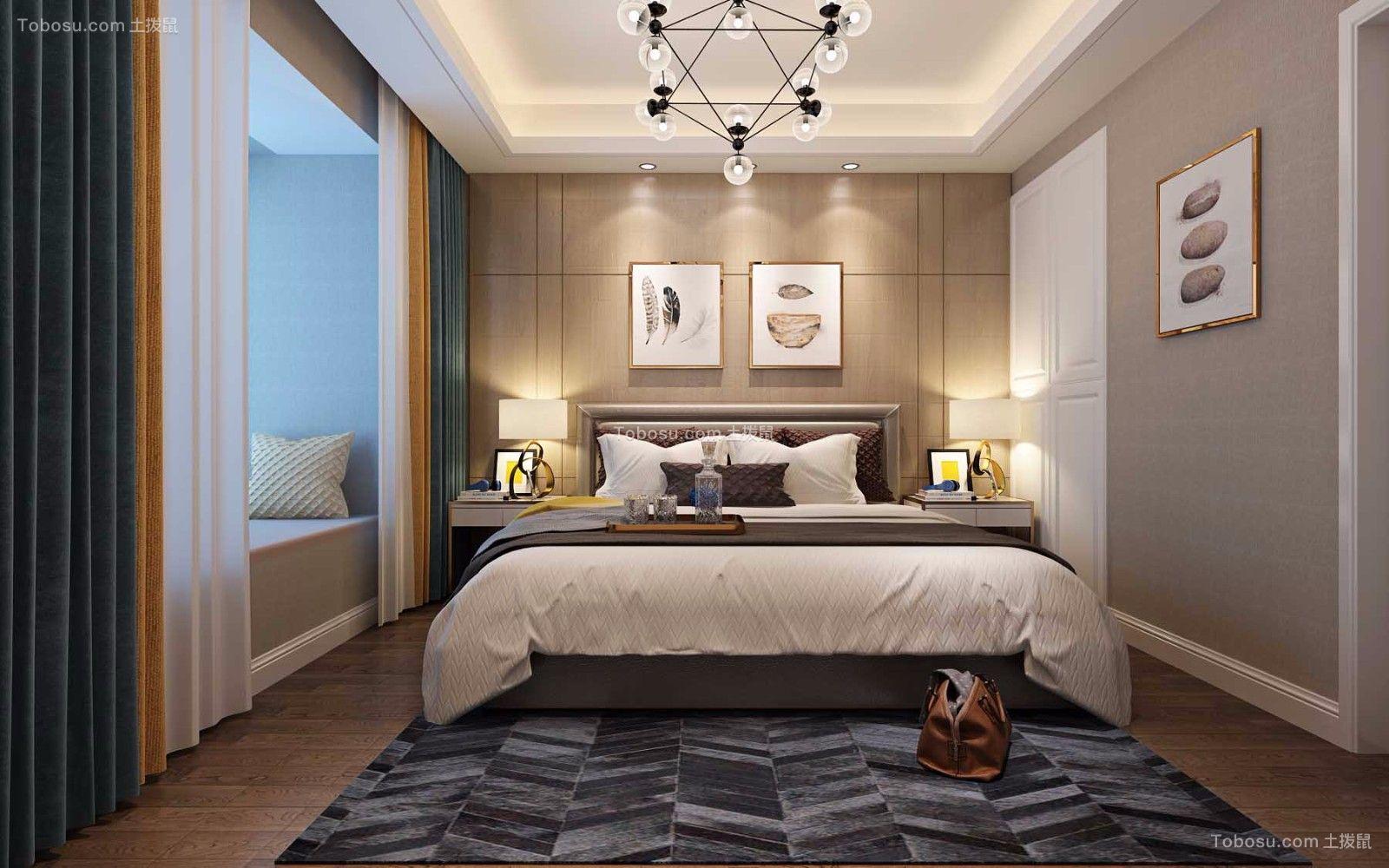 卧室灰色窗帘简约风格装饰效果图