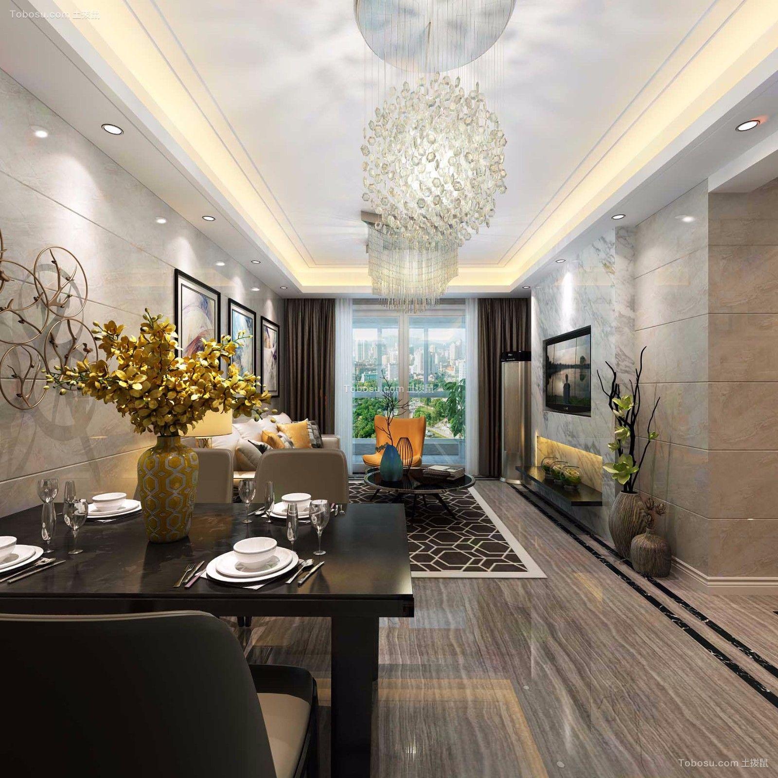 现代简约风格88平米三室两厅新房装修效果图