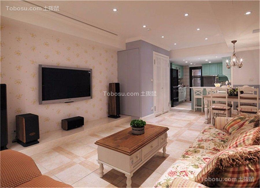 客厅米色地砖欧式风格装潢设计图片