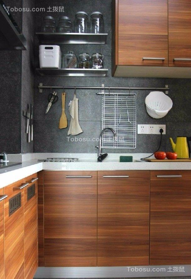 厨房咖啡色厨房岛台混搭风格装潢图片