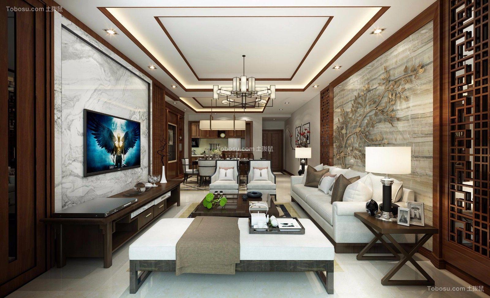 客厅咖啡色背景墙新中式风格装潢设计图片