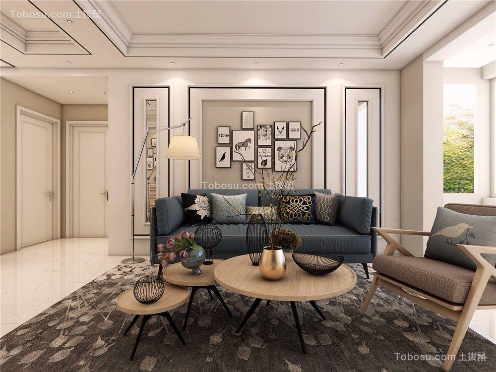 客厅蓝色沙发北欧风格装饰设计图片