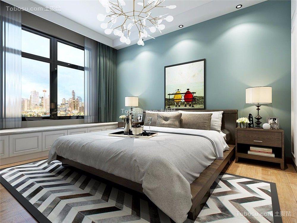 卧室蓝色背景墙北欧风格装修效果图