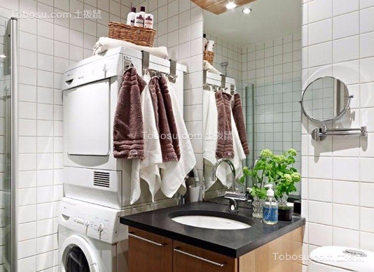 卫生间咖啡色洗漱台北欧风格装饰设计图片