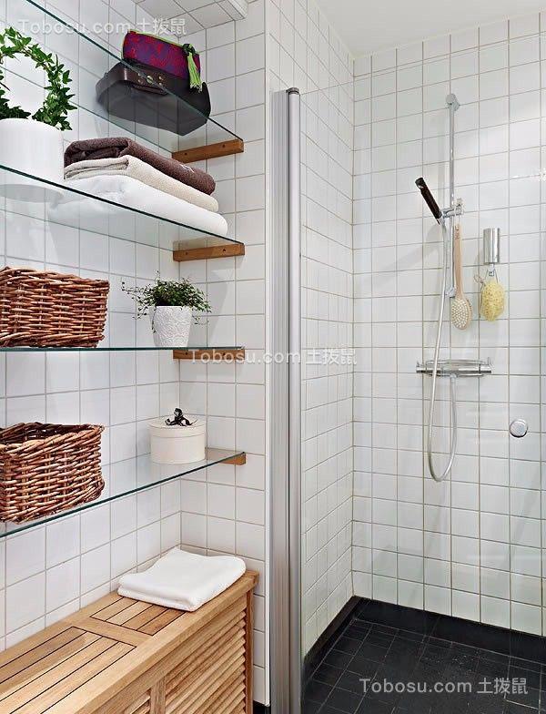 卫生间黑色地砖北欧风格装潢设计图片