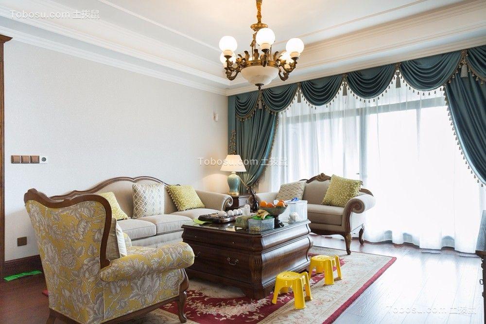 客厅蓝色窗帘美式风格效果图