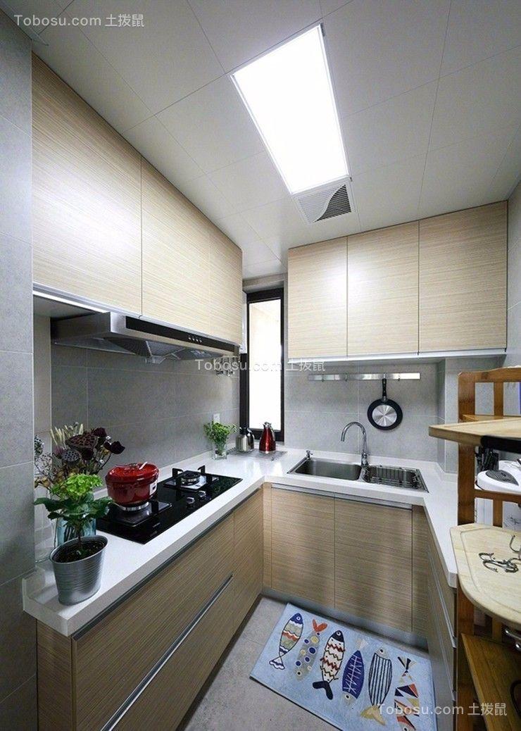 厨房白色厨房岛台现代简约风格效果图