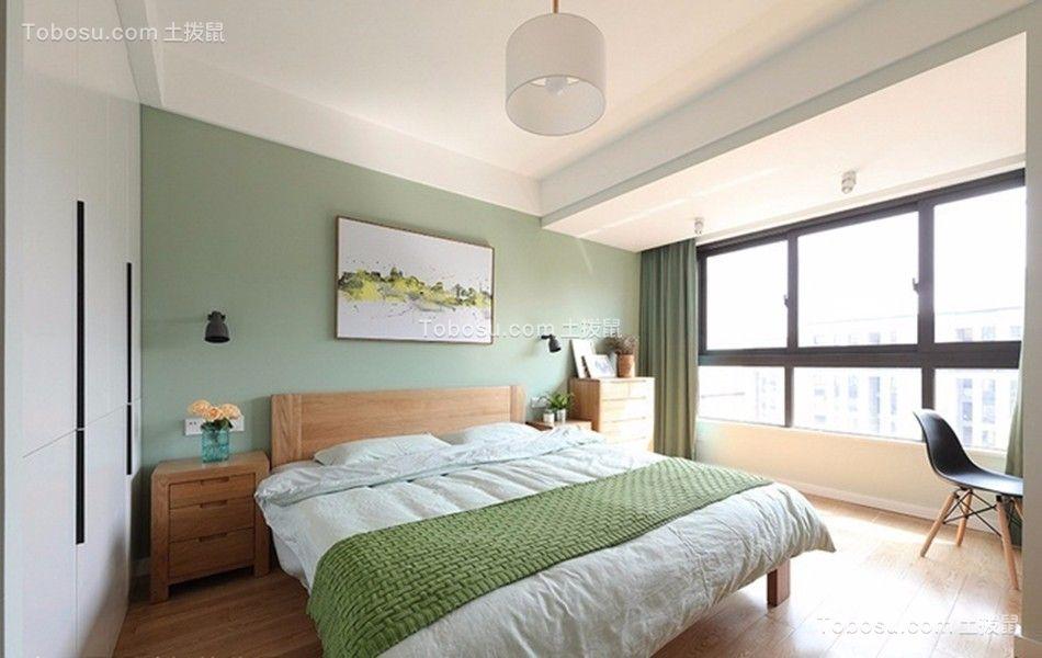 卧室绿色背景墙现代简约风格装饰效果图