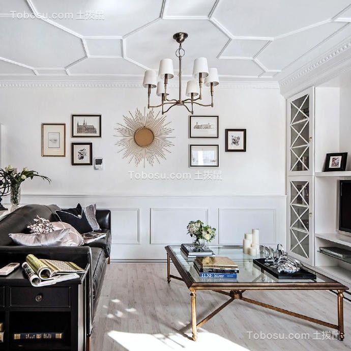 客厅白色吊顶后现代风格装饰图片