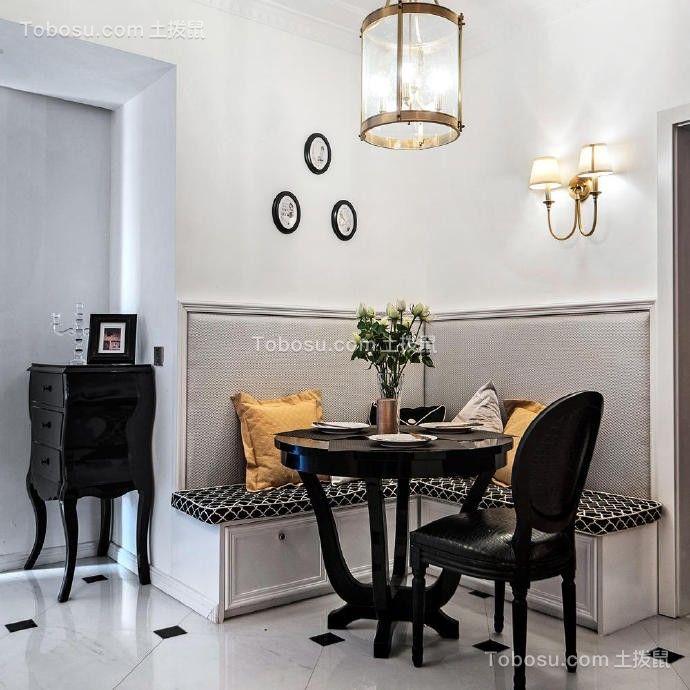 餐厅黑色餐桌后现代风格装潢图片