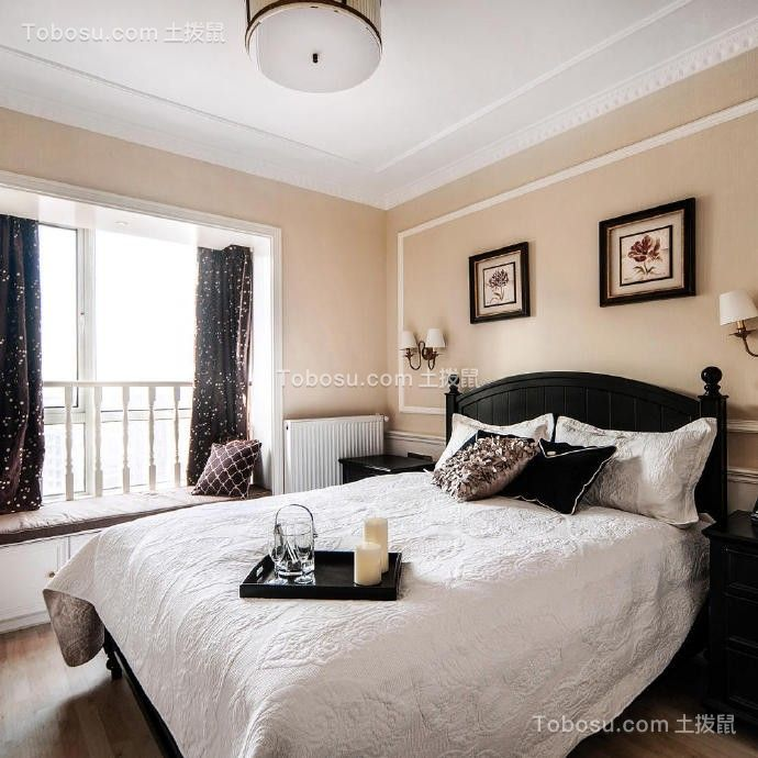 卧室黑色床后现代风格装修设计图片